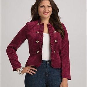 Roz & Ali Velvet Burgundy Military Jacket Size XL